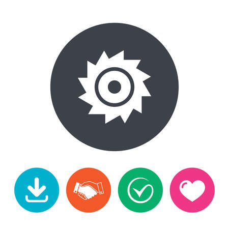 cutting blade: Saw circular wheel sign icon. Cutting blade symbol. Download arrow, handshake, tick and heart. Flat circle buttons.