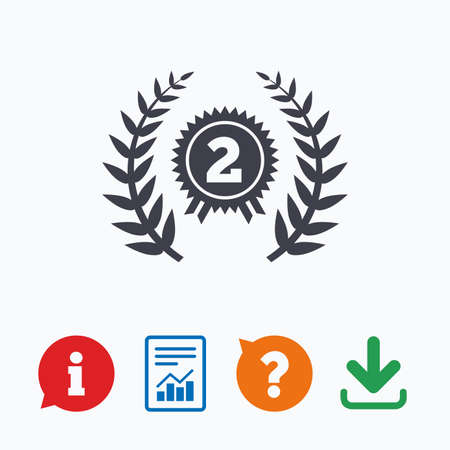 second prize: Second place award sign icon. Prize for winner symbol. Laurel Wreath. Information think bubble, question mark, download and report.