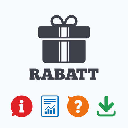 german mark: Rabatt - Discounts in German sign icon. Gift box with ribbons symbol. Information think bubble, question mark, download and report.