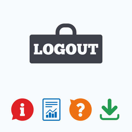 sign out: Logout sign icon. Sign out symbol. Lock icon. Information think bubble, question mark, download and report.