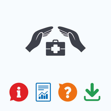 medical case: Medical insurance sign icon. Health insurance symbol. Doctor case. Information think bubble, question mark, download and report. Illustration