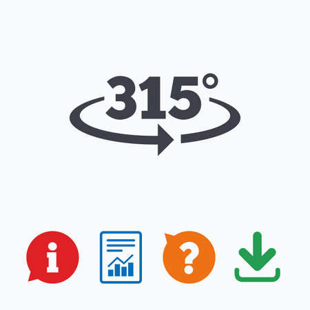 question mark icon: Angle 315 degrees sign icon. Geometry math symbol. Information think bubble, question mark, download and report.