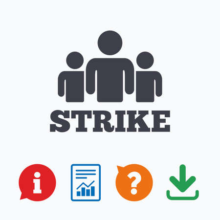 activists: Strike sign icon. Group of people symbol. Industrial action. People protest. Information think bubble, question mark, download and report.