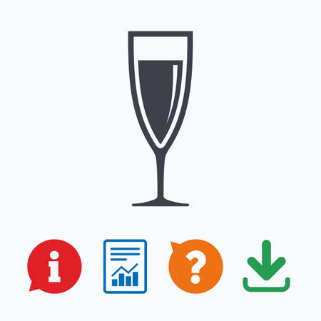 banquet: Glass of champagne sign icon. Sparkling wine. Celebration or banquet alcohol drink symbol. Information think bubble, question mark, download and report.