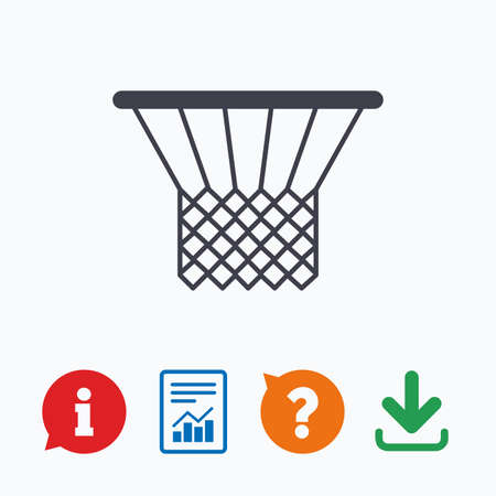 ask: Basketball basket sign icon. Sport symbol. Information think bubble, question mark, download and report.