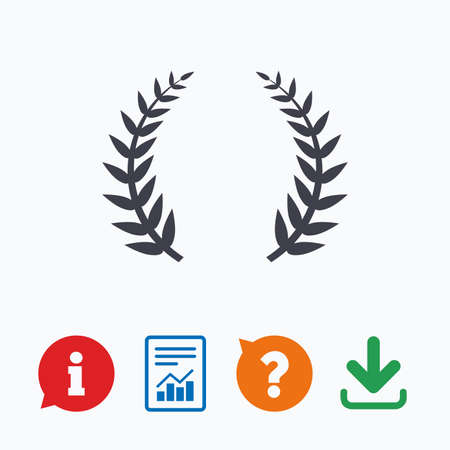 the triumph: Laurel Wreath sign icon. Triumph symbol. Information think bubble, question mark, download and report.