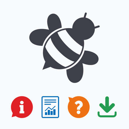 apis: Bee sign icon. Honeybee or apis with wings symbol. Flying insect diagonal. Information think bubble, question mark, download and report.