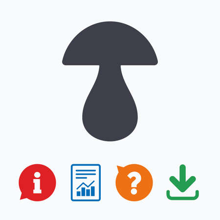 boletus: Mushroom sign icon. Boletus mushroom symbol. Information think bubble, question mark, download and report.