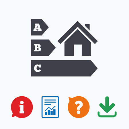 Good Energy Efficiency Sign Icon. House Building Symbol. Information Think  Bubble, Question Mark,