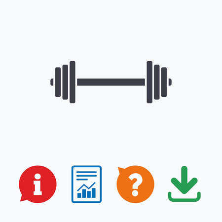 ask: Barbell sign icon. Muscle lifting symbol. Information think bubble, question mark, download and report.