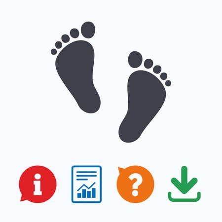 huellas: Par Niño de signo huella icono. Niño símbolo descalzo. Primeros pasos del bebé. Información pensar burbuja, signo de interrogación, la descarga y el informe.