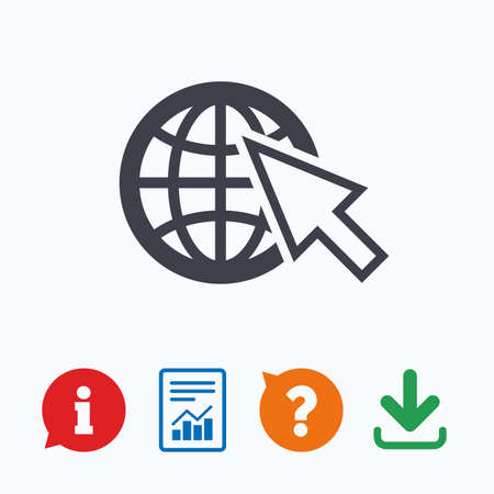 world wide web: Internet sign icon. World wide web symbol. Cursor pointer. Information think bubble, question mark, download and report. Illustration