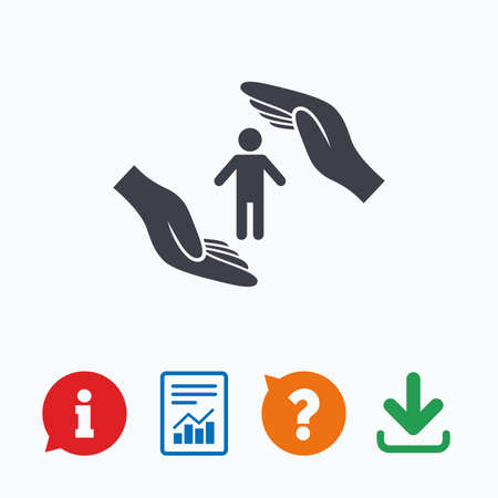 protection icon: Human life insurance sign icon. Hands protect man symbol. Health insurance. Information think bubble, question mark, download and report.
