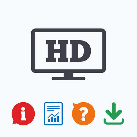 widescreen: HD widescreen tv sign icon. High-definition symbol. Information think bubble, question mark, download and report.