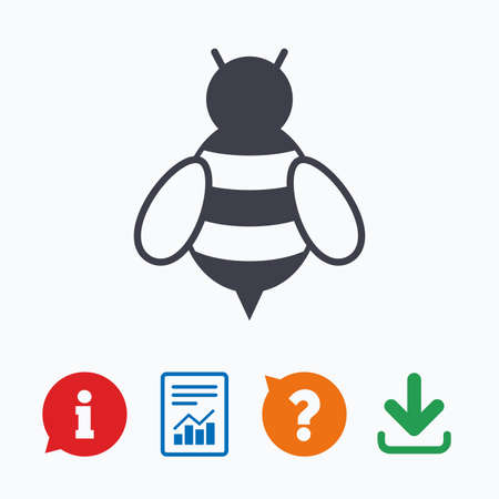 pollination: Bee sign icon. Honeybee or apis with wings symbol. Flying insect. Information think bubble, question mark, download and report.