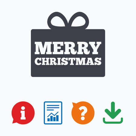 Merry christmas gift sign icon. Present symbol. Information think bubble, question mark, download and report. Ilustracja
