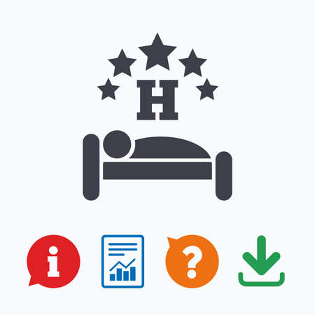 sleeper: Five star Hotel apartment sign icon. Travel rest place. Sleeper symbol. Information think bubble, question mark, download and report. Illustration