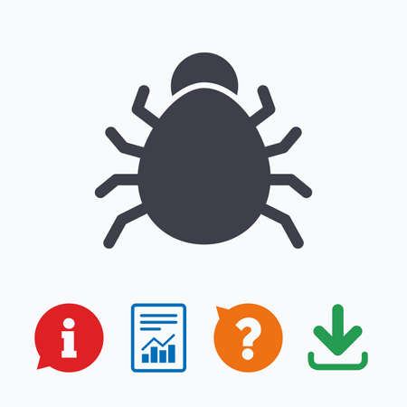 acarus: Bug sign icon. Virus symbol. Software bug error. Disinfection. Information think bubble, question mark, download and report. Illustration
