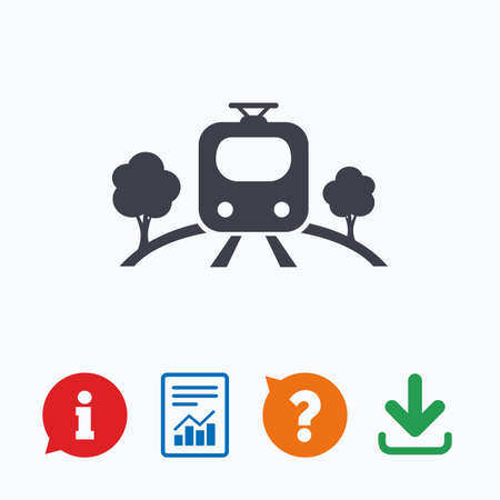 metro train: Overground subway sign icon. Metro train symbol. Information think bubble, question mark, download and report.
