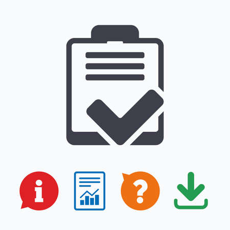 feedback form: Checklist sign icon. Control list symbol. Survey poll or questionnaire feedback form. Information think bubble, question mark, download and report.