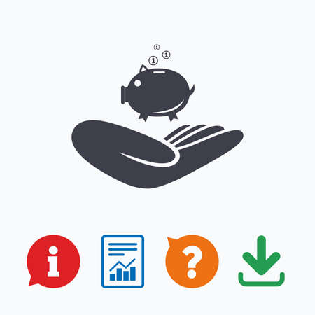 endowment: Donation hand sign icon. Hand holds Piggy bank. Charity or endowment symbol. Human helping hand palm. Information think bubble, question mark, download and report.