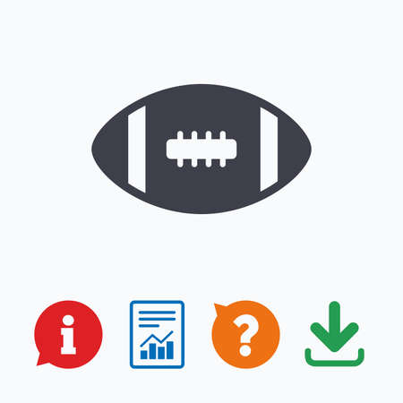 american downloads: American football sign icon. Team sport game symbol. Information think bubble, question mark, download and report. Illustration