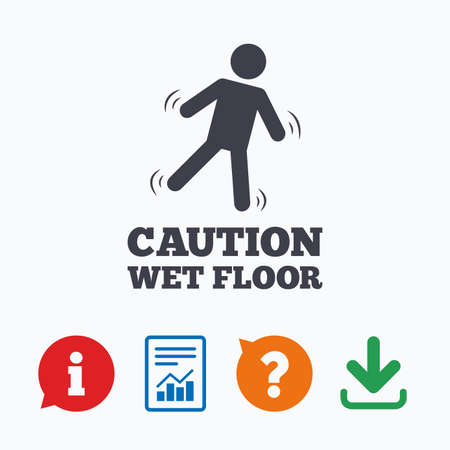 informe: Precaución icono de señalización en el suelo húmedo. símbolo caer humano. Información pensar burbuja, signo de interrogación, la descarga y el informe.