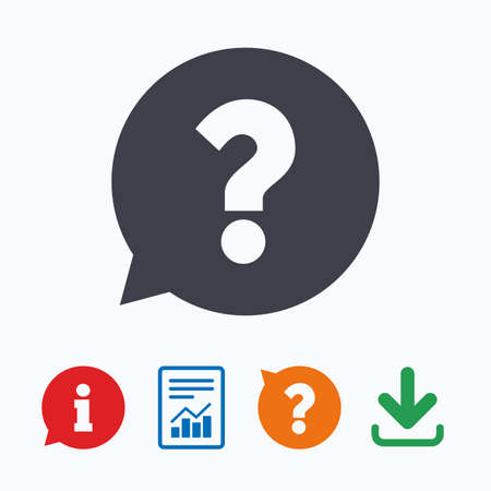 questions: Question mark sign icon. Help speech bubble symbol. FAQ sign. Information think bubble, question mark, download and report. Illustration