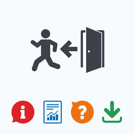 emergency exit icon: Emergency exit with human figure sign icon. Door with left arrow symbol. Fire exit. Information think bubble, question mark, download and report.