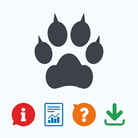clutches: Dog paw with clutches sign icon. Pets symbol. Information think bubble, question mark, download and report.