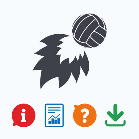 fireball: Volleyball fireball sign icon. Beach sport symbol. Information think bubble, question mark, download and report. Illustration