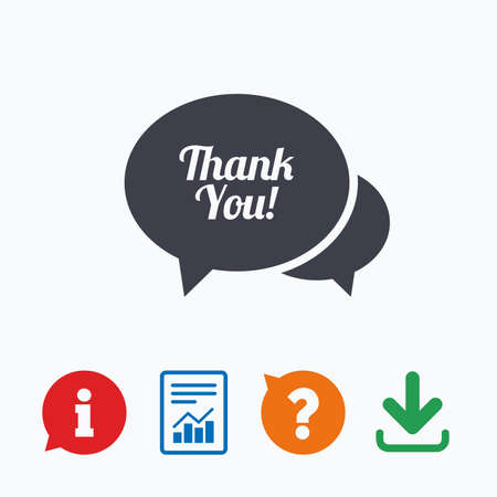 thanks a lot: Speech bubble thank you sign icon. Customer service symbol. Information think bubble, question mark, download and report. Illustration