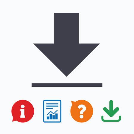 informe: Icono de la transferencia. Sube botón. símbolo de carga. Información pensar burbuja, signo de interrogación, la descarga y el informe.