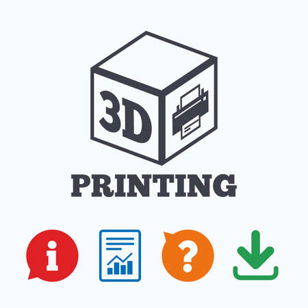 additive manufacturing: 3D Print sign icon. 3d cube Printing symbol. Additive manufacturing. Information think bubble, question mark, download and report. Illustration