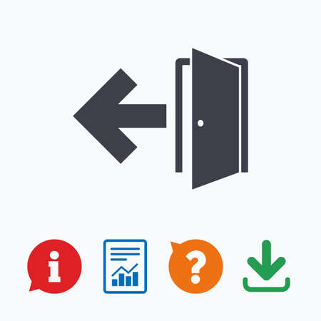 emergency exit sign icon: Emergency exit sign icon. Door with left arrow symbol. Fire exit. Information think bubble, question mark, download and report. Illustration