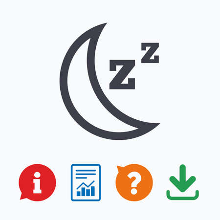 standby: Sleep sign icon. Moon with zzz button. Standby. Information think bubble, question mark, download and report.