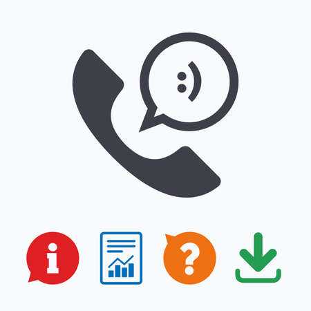 Phone sign icon. Support symbol. Call center. Speech bubble with smile. Information think bubble, question mark, download and report.