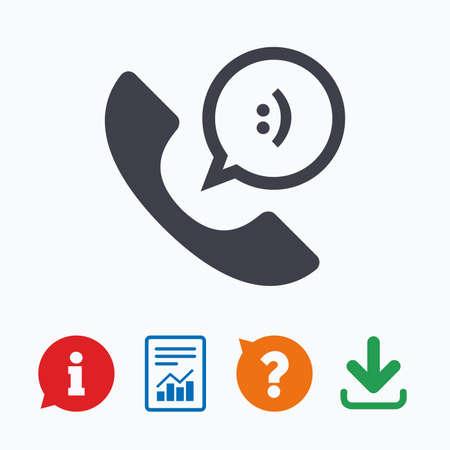 Telefoonpictogram teken. Ondersteuning symbool. Callcenter. Tekstballon met een glimlach. Informatie denk bubbel, vraagteken, download en rapport.