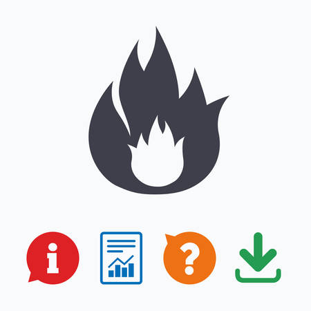 escape: Fire flame sign icon. Fire symbol. Stop fire. Escape from fire. Information think bubble, question mark, download and report.