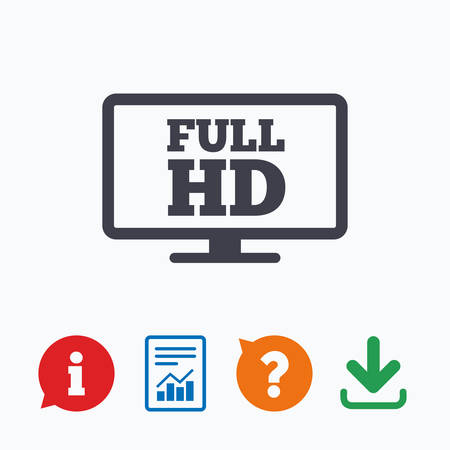 full hd: Full hd widescreen tv sign icon. High-definition symbol. Information think bubble, question mark, download and report.