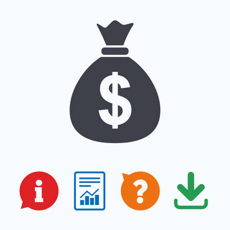 Money bag sign icon. Dollar USD currency symbol. Information think bubble, question mark, download and report.