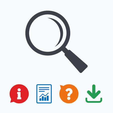 navigation mark: Magnifier glass sign icon. Zoom tool button. Navigation search symbol. Information think bubble, question mark, download and report. Illustration