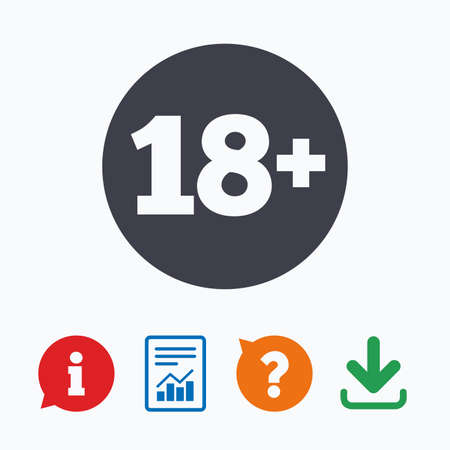 adult only: 18 plus years old sign. Adults content icon. Information think bubble, question mark, download and report.