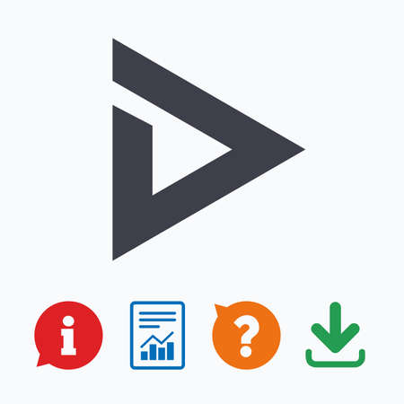 navigation mark: Arrow sign icon. Next button. Navigation symbol. Information think bubble, question mark, download and report.