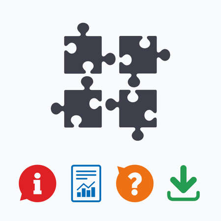 ingenuity: Puzzles pieces sign icon. Strategy symbol. Ingenuity test game. Information think bubble, question mark, download and report.