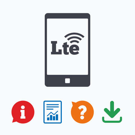 wireless communication: 4G LTE sign in smartphone icon. Long-Term evolution sign. Wireless communication technology symbol. Information think bubble, question mark, download and report.