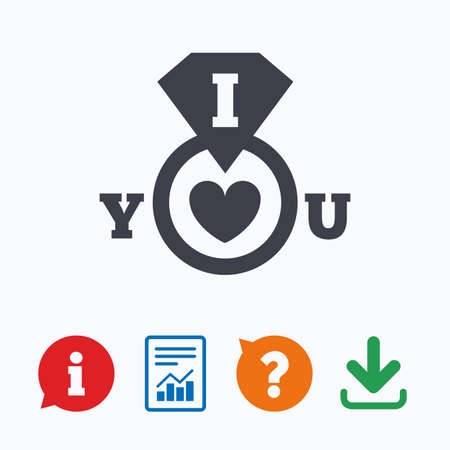 i love you sign: I Love you sign icon. Valentines day symbol. Information think bubble, question mark, download and report. Illustration