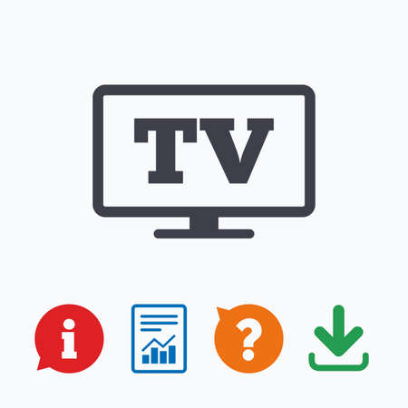 television set: Widescreen TV sign icon. Television set symbol. Information think bubble, question mark, download and report.