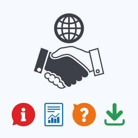 amicable: World handshake sign icon. Amicable agreement. Successful business with globe symbol. Information think bubble, question mark, download and report. Illustration
