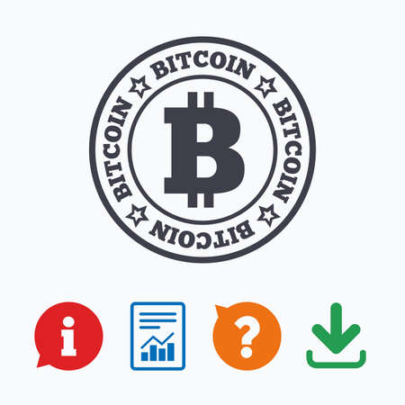cryptography: Bitcoin sign icon. Cryptography currency symbol. P2P. Information think bubble, question mark, download and report.